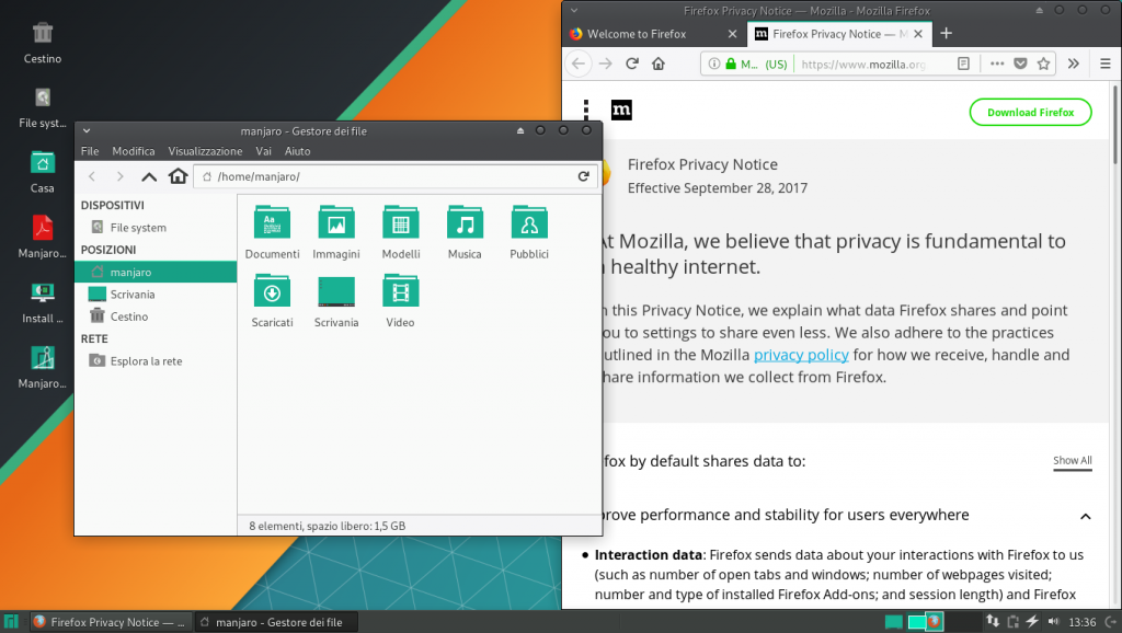 manjaro xfce web browser e file manager
